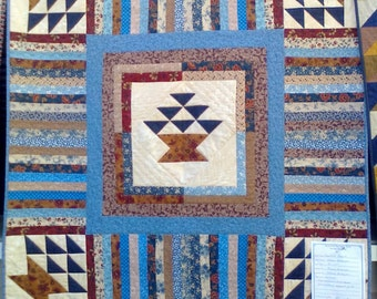Five Beautiful Baskets in Blues and Browns Patchwork Quilt by Sweet Tooth Quilts