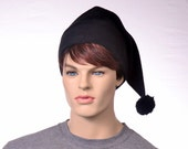 Goth Black Stocking Cap Long Pointed Beanie Dark Elf Hat Adult Men Women Hat Black Sock Hat Pompom Hat Warm Winter Fleece Hat