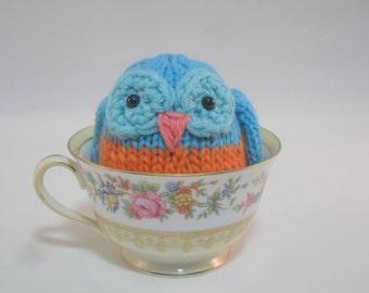 Hand Knit Owl Plush Orange and Turquoise Ready To Ship