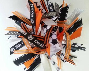 Soccer Ribbon Ponytail Sreamer in Orange, Gray, Black, and White