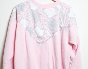 Vintage 80s/90s Awesome Super Cute Kawaii Pastel Pink, White and Grey Grunge Pullover Cool Grandma Sweatshirt Unisex