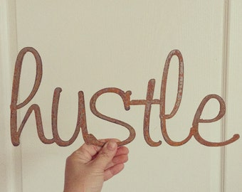 HUSTLE Rusty Metal Letters Sign Wedding Decor