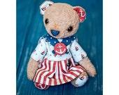 Artist teddy bear sailor - girl 9 inch OOAK