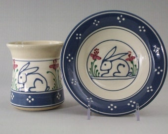 Multi-Color Stoneware Baby's Cup and Bowl Set Blue bunny with Flowers