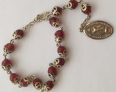 Vintage Pocket or Child's Rosary Capped Red Faceted Stones Prague