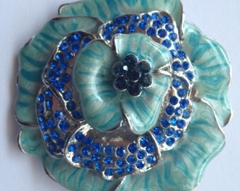Vintage Large Blue Enamel and Rhinestone Flower Brooch