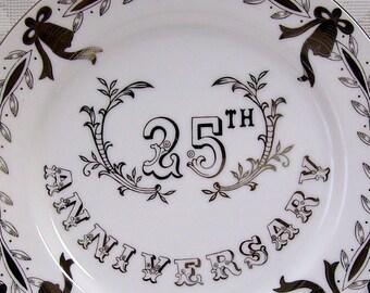 25th Anniversary Plate - Lefton China Ceramic - 1950s
