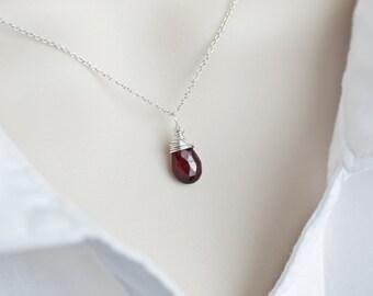 Garnet Necklace, January Birthstone Necklace, Sterling Silver Garnet Necklace, Sterling Silver Wire Wrapped Garnet Briolette Necklace,
