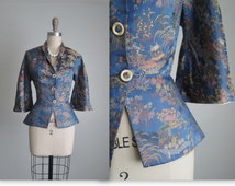 50's Brocade Jacket // Vintage 1950's Silk Asian Brocade Blue Fitted Hourglass Jacket XS
