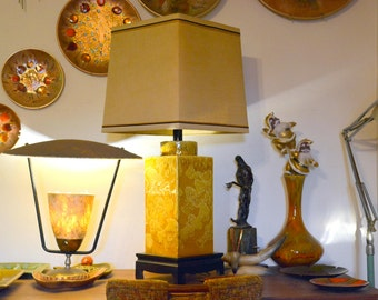 Vintage Yellow Drip Glaze Table Lamp & Shade: Large Square Mid Century Modern California Light Fixture in Excellent Condition