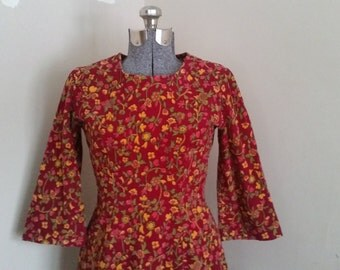 1970's Floral Corduroy Dress