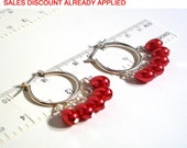 Candy Apple Red Tear Drop Pearl Beaded Hoop Earrings, Available in 3 Colors