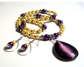 Deep Purple Cats Eye Large Tear Drop Pendant, Yellow Pearl Necklace, 2 Piece Necklace Set, Up to Opera Length Necklace
