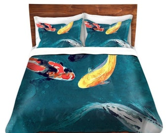 Duvet Cover Koi Fish Painting - Modern Asian Bedding - Queen Size Duvet Cover - King Size Duvet Cover