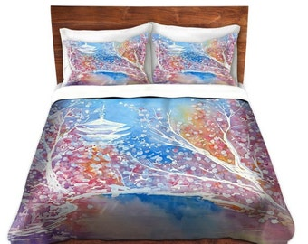 Duvet Set Cherry Blossom Painting - Nature Modern Bedding - Queen Size Duvet Cover - King Size Duvet Cover