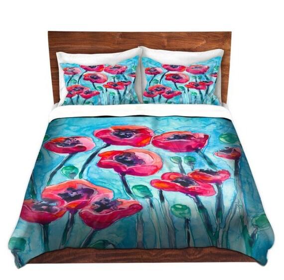 Duvet Set Floral Poppies Painting - Nature Modern Bedding - Queen Size Duvet Cover - King Size Duvet Cover