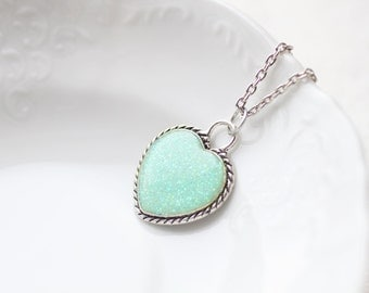 Mint Glitter Heart Necklace - Valentine jewelry
