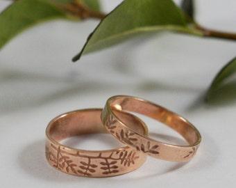 Rose Gold Botanical Wedding Band: A large 5mm wide 9ct rose gold wedding band