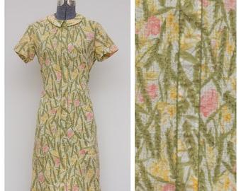 Vintage 60's Floral Smocked Shift Dress
