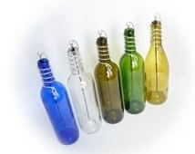 Wine Bottle Stick Incense Burner Blue Clear Gold Olive Green Glass