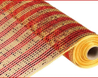 21 Inch Red Gold Wide Foil Striped Deco Mesh Roll RE1063JE, Deco Mesh Supplies