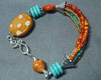 Orange Turquoise & Caramel African Kazuri Bracelet