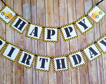 construction birthday banner, dump truck birthday banner, construction birthday party banner, black yellow boy birthday banner