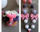 Doc Mcstuffins necklace, cupcake charm, chunky necklace, bubblegum necklace, Doc McStuffins birthday party