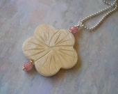 White Flower Pendant, Shell Flower, Pink White Flower, Long Flower Necklace, Ball Chain Necklace, Pendant, White MOP Flower