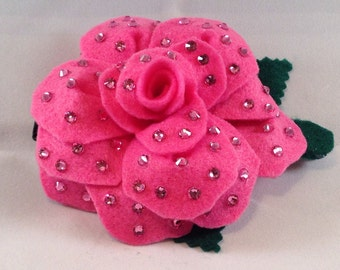 Handcrafted Pink Rose with Swarovski Crystals