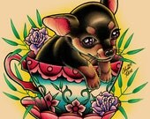Teacup Pup Tattoo Art Print - 5x7, 8x10, or apprx 11x14 inches - Chihuahua Puppy Illustration - Colorful Traditional Tea Cup Tattoo Dog Art