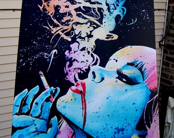 24x30 in Large Stretched Canvas Print - Lowbrow Pin Up Girl Smoking Pop Art Decor