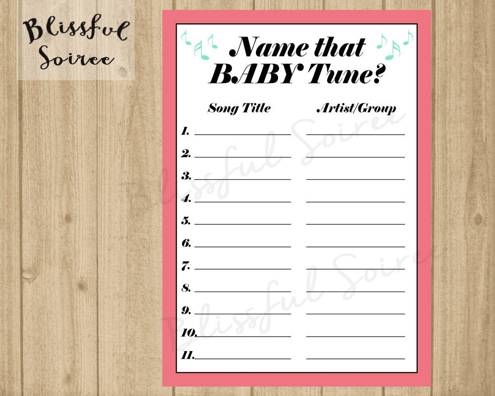 Name That Tune: Name That Baby Tune Name That Tune Baby Shower Game