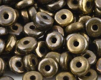 Ceramic Beads-9mm Round Disc-Antique Bronze-Quantity 10