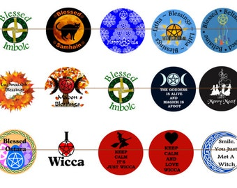 Wiccan Magnets~Wiccan Pins~Earth Religion~Pagan Magnets~Pagan Pins~Party Favors~Fridge Magnets~Refrigerator Magnets