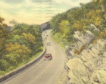 Along the Blue Ridge Mountains Shenandoah Nation Park VA Vintage Linen Postcard 1951 Road Trip