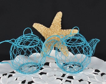 Wire Mesh 2 Small Teapot Shabby Chic Decor Turquoise  Table Decor