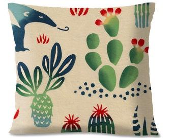 ANTEATER - Cactus Garden Pillow Cover - Mexicana Southwest - Animals - Children -  Nursery - European Linen Backing