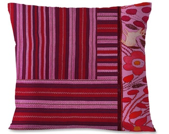OAXACAN Folk Pillow Cover - Mexico - Southwest - Repurposed - Purples - Pinks - Linen backing -