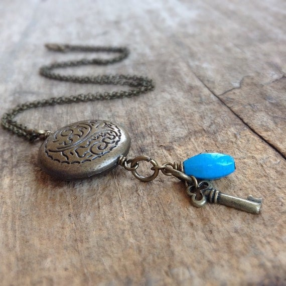 Antique Charm Necklace, Turquoise Necklace, Bohemian Necklace, Bohemian Jewelry