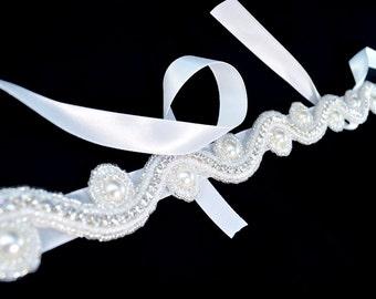 Beaded Bridal Sash - White - Bridal Sash - Clearance