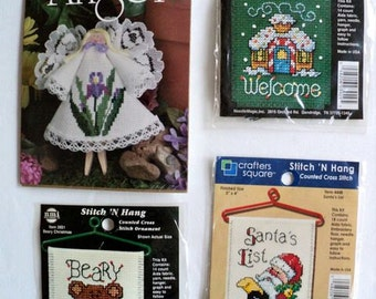 Christmas Counted Cross Stitch Kits - Ornaments - Set of 4 Kits
