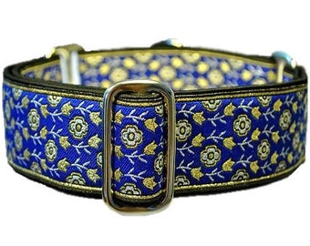 Royal Blue Floral Jacquard Martingale Collar - 1.5 Inch