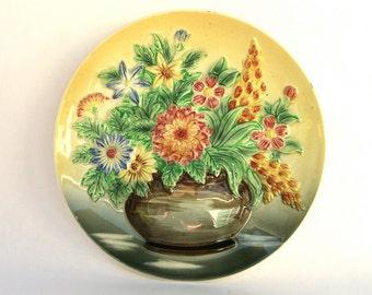 Vintage Floral Plate, Centennial Novelty, Flower Pot 3D Relief, Shabby Chic Cottage Decor