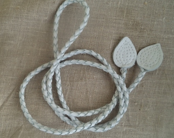 cream leather belt braided, necklace by Tuscada. Ready to ship.