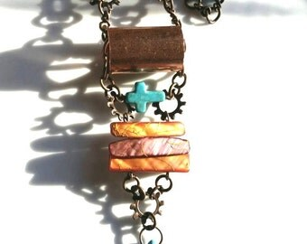 Turquoise Necklace Copper Jewelry Country Girl Jewelry Turquoise Cross Long Chain