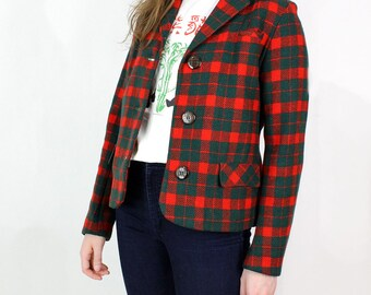 Plaid Jacket S/M | Red and Green Tailored Wool Jacket w/ Plaid Buttons
