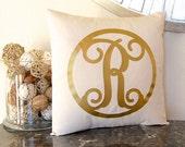 Metallic Gold Pillow, Gold Monogram Pillow, Metallic Decor, Gold Initial Pillow Metallic Pillow, Personalized Pillow, Metallic Silver Pillow