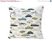 ON SALE SALE Decorative Pillow Cover (One) 16 x16 -Retro Rides Felix/Natural