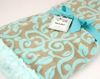 READY to SHIP! Minky Baby Crib, Stroller Cuddle Blanket-Large 28 x 32 Mar Bella Minky Granada Cuddle Marina Vine in Carbon Shannon Fabric